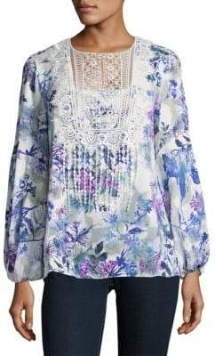 T Tahari Crochet-Accented Floral Top
