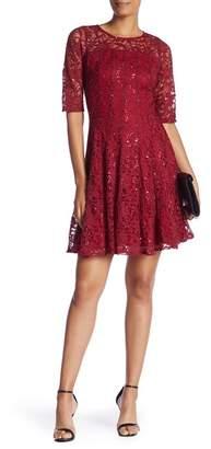 Rabbit Rabbit Rabbit Sequined Lace Fit & Flare Dress