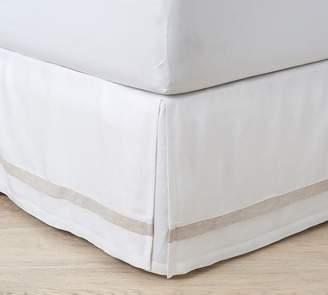 Pottery Barn Belgian Flax Linen Contrast Flange Bed Skirt - White
