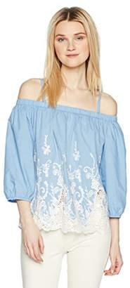 Amy Byer A. Byer Junior's Off The Shoulder Top with Embroidery (Junior's)