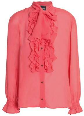 Just Cavalli Ruffle-Trimmed Crepe Top