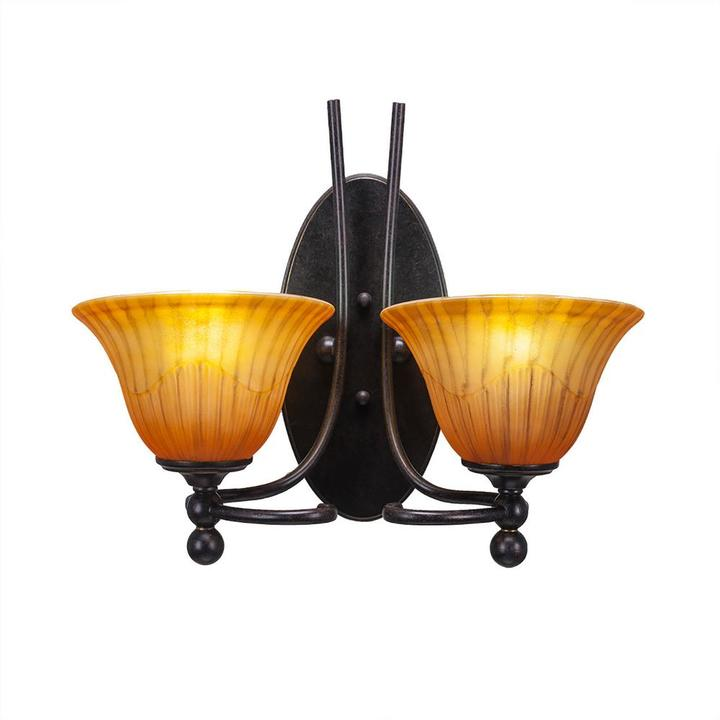 Cambridge Silversmiths Cambridge 2-Light Dark Granite Sconce with Orange Ribbed Glass