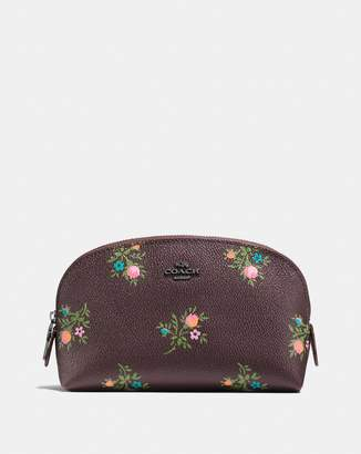 Coach Cosmetic Case 17 With Cross Stitch Floral Print
