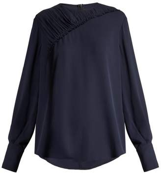 Joseph - Sinclair Ruched Silk Crepe Blouse - Womens - Navy