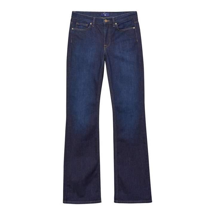 Dark Blue Flare Stretch Denim Jeans