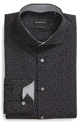 Bugatchi Trim Fit Star Dot Print Dress Shirt
