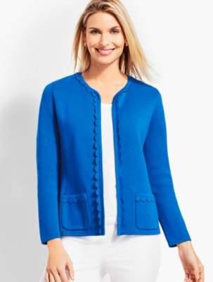 Talbots Scalloped-Edge Sweater Jacket