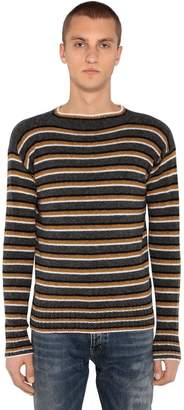 Prada Striped Shetland Wool Knit Sweater
