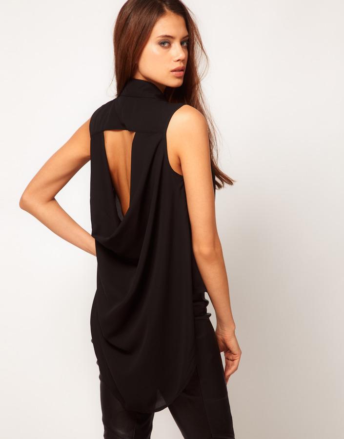 TFNC Sleeveless Drape Open Back Shirt