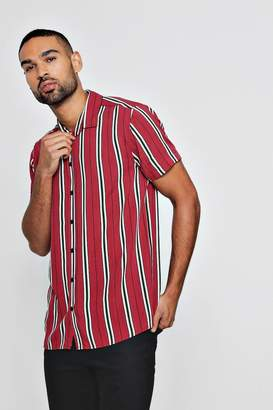 boohoo Short Sleeve Wide Stripe Shirt