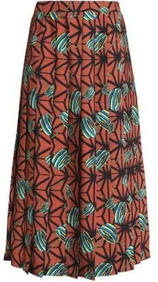 Stella Jean Pleated Printed Cady Midi Skirt