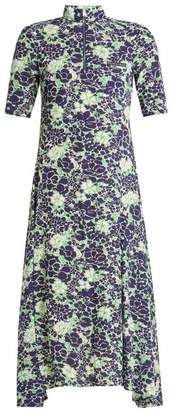 Prada Peony Print Silk Blend Dress - Womens - Blue
