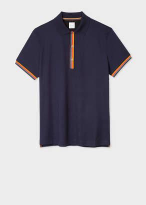 Paul Smith Men's Slim-Fit Dark Navy Cotton-Pique Polo Shirt With 'Artist Stripe' Details