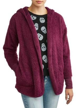 No Boundaries Junior's All Over Fleece Hooded Open Front Cardigan