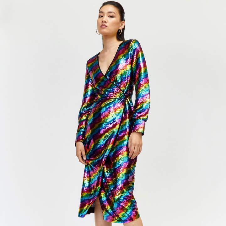 Rainbow Sequin Wrap Midi Dress
