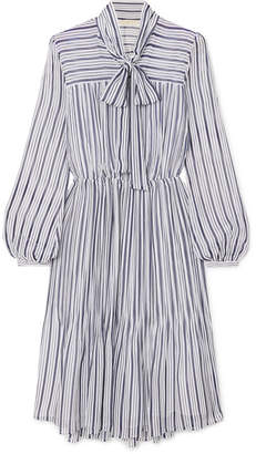 MICHAEL Michael Kors Carolina Striped Gauze Midi Dress - Blue