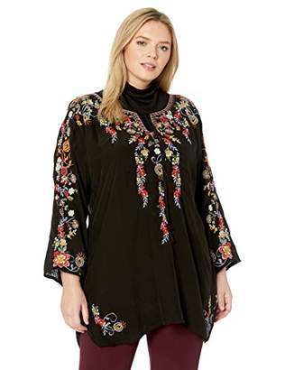 Johnny Was Women's Size Plus Embroidered Keyhole Tunic