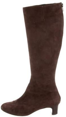 Christian Louboutin Round-Toe Knee-High Boots Brown Round-Toe Knee-High Boots