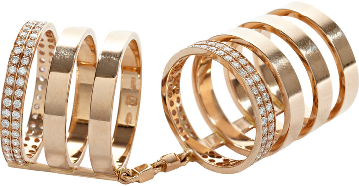Repossi Rose Gold & Diamond Seven-Row Berbere Ring