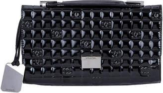 One Kings Lane Vintage Chanel Black Patent Embossed Evening Bag - Vintage Lux
