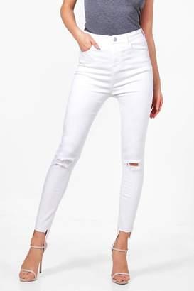 boohoo High Rise Slit Knee Step Hem Skinny Jeans