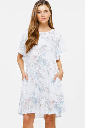 Montrez RUFFLE SHORT SLEEVE POCKET BOHO DRESS