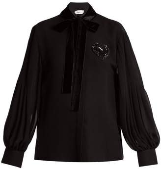 Fendi - Crystal Embellished Pleated Silk Blouse - Womens - Black