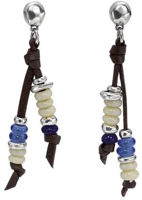 Uno de 50 Lollapalooza Stacked Glass Bead Double-Strand Leather Stud Earrings