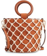Street Level Knotted Cage Faux Leather Bucket Bag