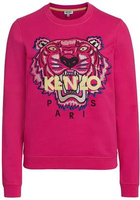 Kenzo Woman's Fuchsia Sweater With Tiger And Logo S(INT)