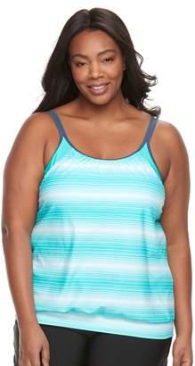 Free Country Plus Size Stripe Blouson Tankini Top