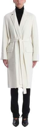 Helmut Lang White Belted Wool Coat