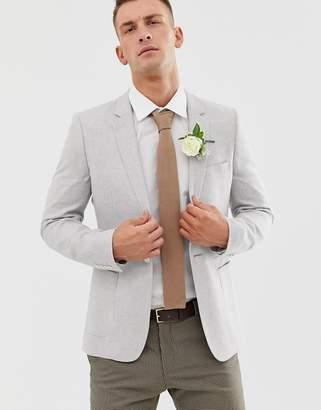 Asos Design DESIGN wedding super skinny blazer in ice gray linen