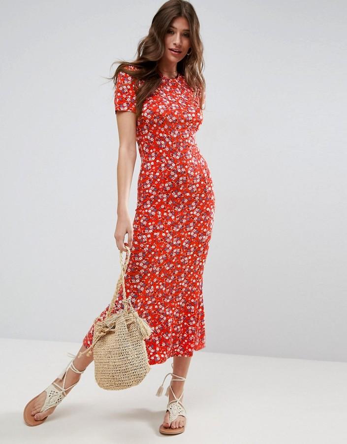 Asos City Maxi Tea Dress In Floral Print