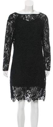 Ralph Lauren Leather-Accented Lace Dress