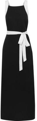 Jets Classique Two-tone Tencel-pique Maxi Wrap Dress