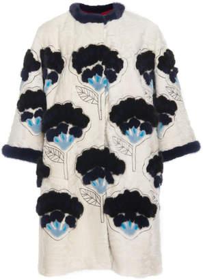 Carolina Herrera Flower Intarsia Fur Coat