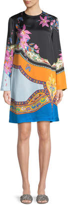 Etro Scarf-Print Long-Sleeve Shift Dress