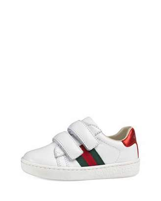 Gucci Leather Grip-Strap Sneaker, White, Toddler Sizes 4-10