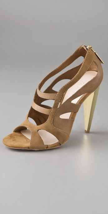 L.a.m.b. Dominica Gold Heel Sandals