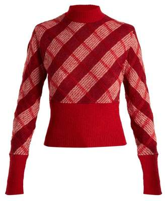Miu Miu - High Neck Checked Mohair Blend Sweater - Womens - Red Multi