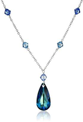 Swarovski Sterling Silver and Bermuda Crystal Pendant Necklace