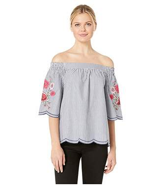 Tribal Yarn-Dye Stripe Woven Off Shoulder Embroidered Top