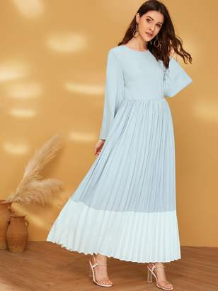 Shein Keyhole Back Two Tone Pleated Maxi Dress