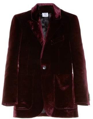 Vetements - Patch Pocket Velvet Blazer - Womens - Burgundy