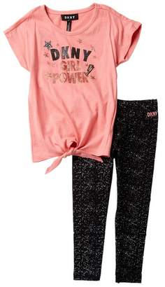 DKNY Girl Power Tee & Leggings 2-Piece Set (Toddler Girls)