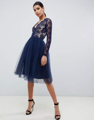 Rare London midi prom dress with scalloped lace detail in navy