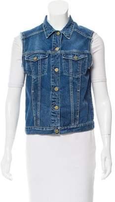 MiH Jeans Denim Pointed Collar Vest