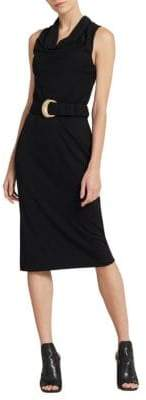 Donna Karan Sleeveless Cowlneck Belted Sheath Dress