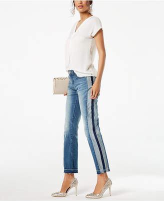 INC International Concepts I.n.c. Petite Side-Stripe Released-Hem Ankle Jeans, Created for Macy's